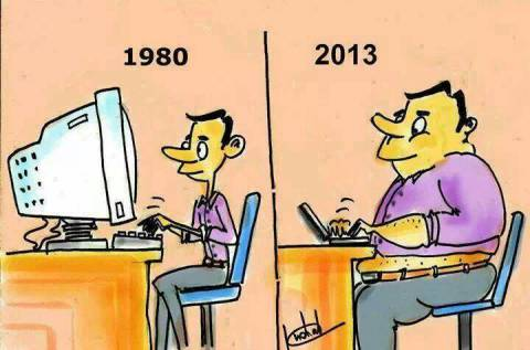 Computers evolution in cartoon illustrations